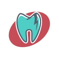 dental logo on oval shape background dentistry vector image