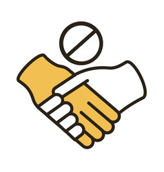 dont handshake contact line duo color style icon vector image