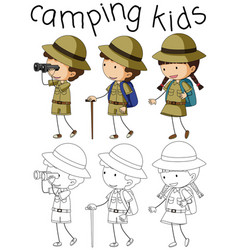 doodle camping kids character vector image