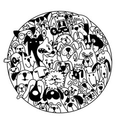 Doodle dogs faces colorful background hand drawn vector