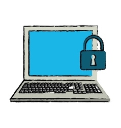 Drawing laptop data security system technology vector