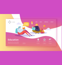 Education and science landing page courses vector