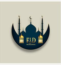 Eid mubarak islamic festival wishes greeting vector