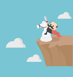Elderly businessman riding horse on a steep cliff vector