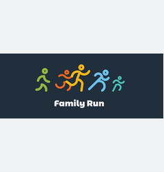 Family run race colorful runnerslogo for running vector