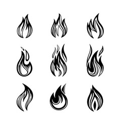 fires icon set of vector image