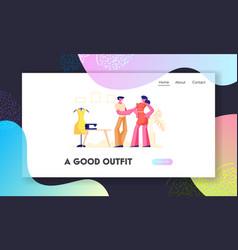 garment designer website landing page dressmaker vector image