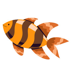 Gold fish with stripes tropical animal in sea vector