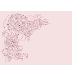 Greeting pink horizontal card with linear peony vector image