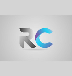 Grey blue alphabet letter rc r c logo icon design vector