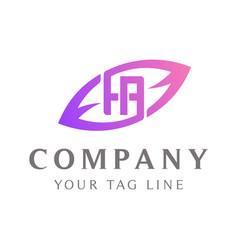 ha abstract logo leaf shape outside vector image