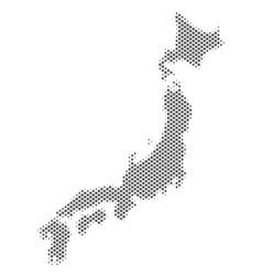halftone silver japan map vector image