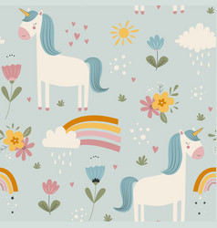 Hand drawing cute unicorn and flowers seamless vector