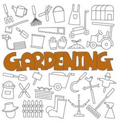 hand drawn doodle gardening set vector image