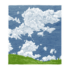 hand drawn sky vector image