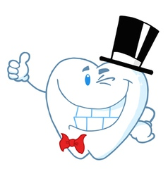 Happy Winking Gentleman Tooth vector image