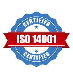 ISO 14001 certified stamp - quality standard seal vector