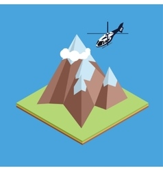 Isometric helicopter in mountain vector image