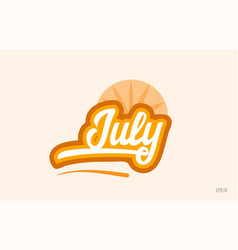 July orange color word text logo icon vector