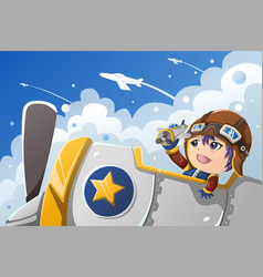 Kid playing with an airplane vector