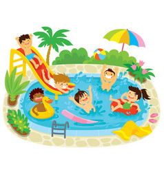 Kids playing in a swimming pool vector