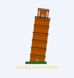 Leaning tower of pisa graphical hand-painted vector