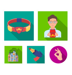 Man young glasses and other web icon in flat vector