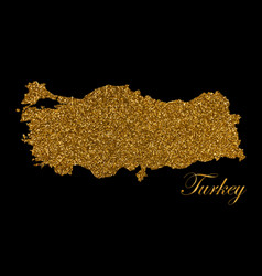 map turkey silhouette with golden glitter vector image