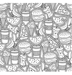 Monochrome wallpaper with food and drinks vector