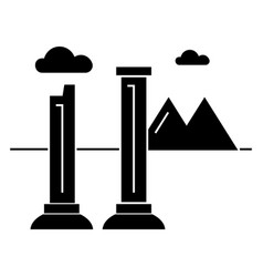 Monuments of ruins icon sig vector
