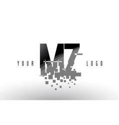 Mz m z pixel letter logo with digital shattered vector