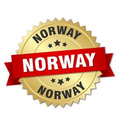 norway round golden badge with red ribbon vector image