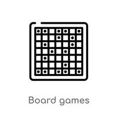 Outline board games icon isolated black simple vector