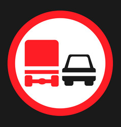 Overtaking ban for truck prohibition sign icon vector