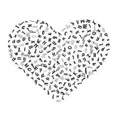 pattern heart with letters of the alphabet vector image