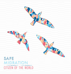 People flying with birds for safe migration vector