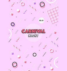 Pink carnival poster abstract memphis 80s 90s vector