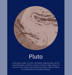 Pluto planet informative poster with sample text vector