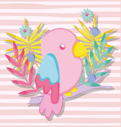 Punchy pastel cute parrot cartoon vector
