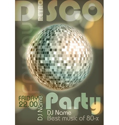 Retro disco poster Disco background vector image