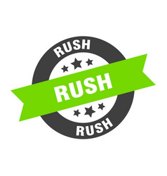 Rush sign rush round ribbon sticker rush tag vector