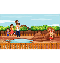 scene with family in park vector image