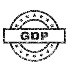 Scratched textured gdp stamp seal vector