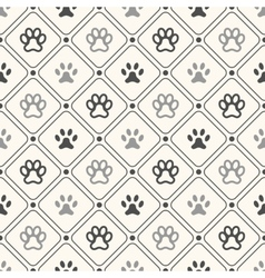 Seamless animal pattern of paw footprint in frame vector