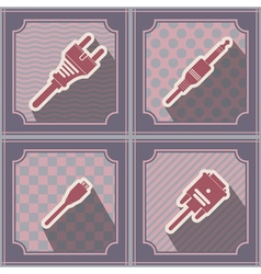 seamless background with different power cord plug vector image