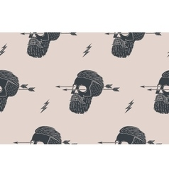 Seamless pattern background of vintage skull vector image