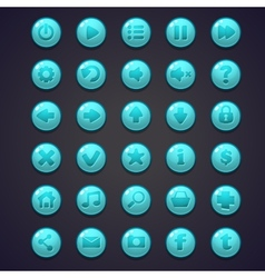 Set of blue round buttons for the user interface vector image
