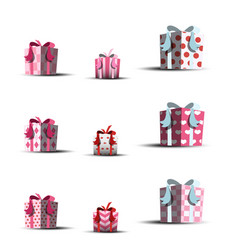 set of gift boxes for valentine day vector image
