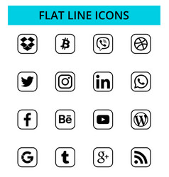 Set popular social media and other icons vector