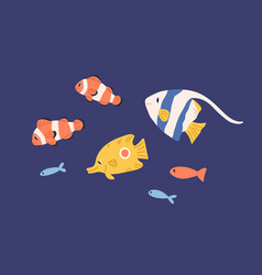 Set small bright marine fishes collection of vector
